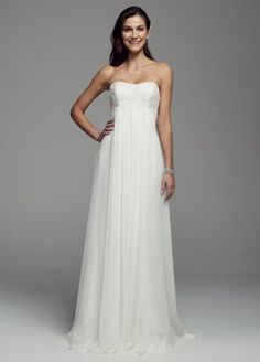 A long and soft silhouette translates to a truly elegant bridal look for your special day! Sample Sale gowns are only available online (not available in stores). Sample Sale gowns contain imperfecti Wedding Gown Preservation, Dress Attire, Chiffon Gown, Wedding Dresses Plus Size, Wedding Looks, Davids Bridal, Elegant Wedding, Perfect Wedding, Bridal Gowns