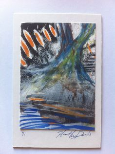 Watercolor and wood cut 4x6 $5.00