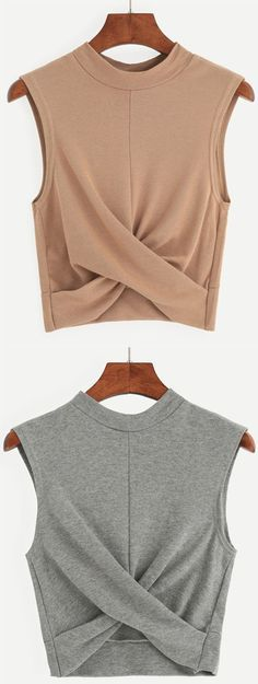 Grey Mock Neck Crop Draped Tank Top