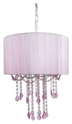 Chandelier Light Crystal Glass Ceiling Nursery Pink Lamp Baby Kids Girls Room  #Tadpoles
