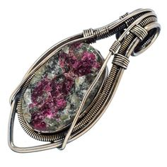 """Rough Russian Eudialyte 925 Sterling Silver Pendant 2 1/4"""" PD552862"""