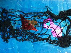 Sea Creatures caught in a net. Metallic cardboard, food dye and cotton netting. Food Dye, Primary School, Sea Creatures, Students, Metallic, Artwork, Cotton, Painting, Work Of Art