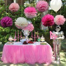10 unids/pack 15 cm, 20 cm, 25 cm colores mezclados Tejido de Papel Rosado Pom Poms Para La Niña princesa Fiesta de Cumpleaños de la Boda Decoración Del Partido(China (Mainland))