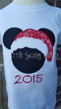 Mickey Mouse Santa Shirt- Mickey Mouse Christmas Shirt- Mickey Applique Shirt- Mickey Embroidered Shirt for Adults- Christmas Party