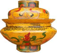 Antique Yellow Tibetan Wood Box