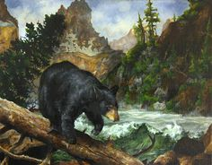 "Justas Varpucanskis, a ninth grade student from Moenka, Illinois, took first place in the 2012 George Montgomery/NRA Youth Wildlife Art Contest's Category III with this black bear in ""Treacherous Journey"""