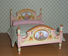 Dollhouse-Miniature-Painted-Peter-Rabbit-Bed-Potter-Nursery-Child-1-12-L-Lassige