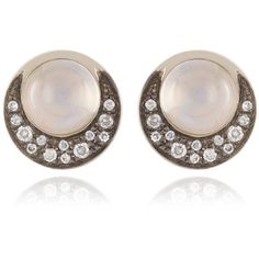 Noor Fares Tilsam Eclipse Blue Moonstone Stud Earrings (9.520 RON) ❤ liked on Polyvore featuring jewelry, earrings, 18 karat gold earrings, blue moonstone earrings, blue jewelry, drusy jewelry and druzy stud earrings