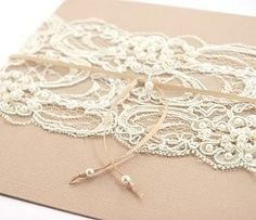 Burlap & Lace Shabby Chic Wedding Invitation