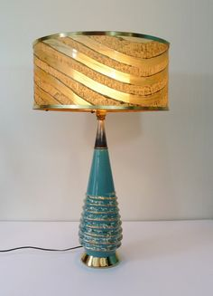 Vintage Mid Century Green & Gold Swirl Table by TheLampEmporium, Mid Century Lighting, Mid Century Style, Green And Gold, Light Fixtures, Aqua, Shades, Vintage Table, Table Lamps, House Styles