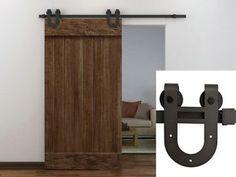 6FT-Dark-Coffee-Antique-Horseshoe-Barn-Wood-Sliding-Door-Hardware-Track-Set-New