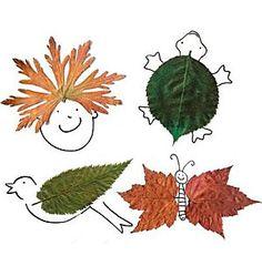 коллажи-рисунки из опавших листьев
