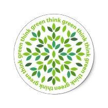 Piense las etiquetas engomadas verdes por teeboutique
