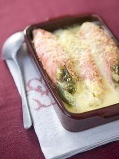 poivre, saumon fumé, endive, sel, béchamel, gruyère râpé
