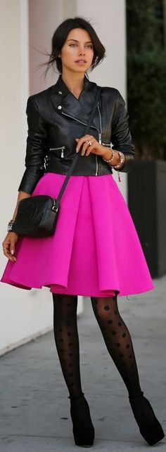 Super cute! Leather jacket with pink skirt #senior #fashion #photography