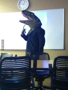 My professor dressed up as the philosoraptor for Halloween