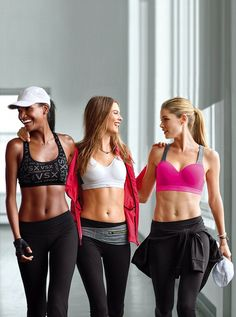 Victoria's Secret workout gear. These girls look a little weak in the arms to me but w/e