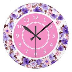 Cute Purple Daisy Flowers Clock