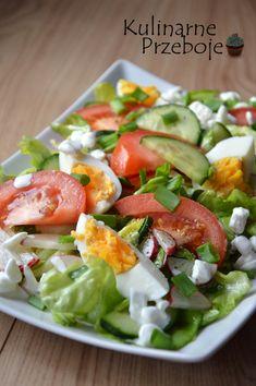 Sałatka wiosenna z serkiem wiejskim wg Siostry Anastazji. Sałatka wiosenna. Sałatka wielkanocna. Sałatka na Wielkanoc. Sałatka z jajkiem. Sałatka z serkiem. Vegetarian Recipes, Cooking Recipes, Healthy Recipes, Healthy Dishes, Healthy Eating, Pasta Lunch, Ceasar Salad, Bulgur Salad, Rabbit Food