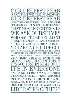 Our Deepest Fear Quote, Writing Prompts Poetry, Fear Quotes, Famous Poets, John Adams, Marianne Williamson, Clc, Kind Words, Spiritual Quotes