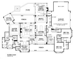 Plan of the Week over 2500 sq ft - The Meadow Creek 3369 sq ft, 4 Bedrooms, 3 Bathrooms. Ranch House Plans, Dream House Plans, House Floor Plans, My Dream Home, Dream Houses, I Love House, Ranch Style Homes, A30, House Layouts