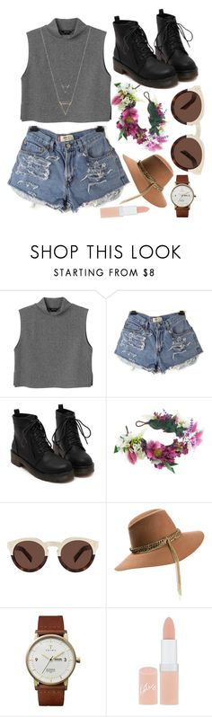 """""""Homecoming"""" by ivyleaguehipster ❤ liked on Polyvore featuring Monki, Rock 'N Rose, Illesteva, Maison Michel, Triwa and Rimmel"""
