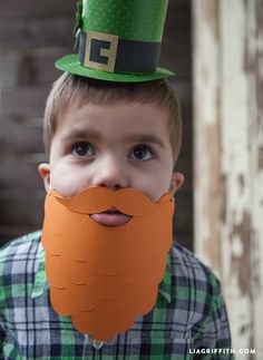 Make an orange paper beard to accessorize your St. Patrick's Day outfit or leprechaun costume! Use this easy template to create this festive look. Fake Beards, Saint David's Day, Leprechaun Costume, Orange Paper, Corn Beef And Cabbage, Bible Crafts, Book Week, Spring Crafts, School Projects