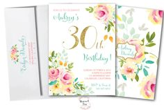 30th Birthday Invitation //Roses // Peonies // Peony // 30 // Any Age // Peach // Pink // Mint // Gold Glitter // Yellow// MALIBU COLLECTION by MerrimentPress on Etsy https://www.etsy.com/listing/267403348/30th-birthday-invitation-roses-peonies