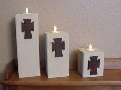 Wood Candle Holders - Rustic Home Decor, Christian Art, Votive Candle Holder, Wooden Blocks, Decorative Blocks