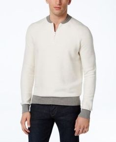 Tommy Hilfiger Men's Carlos Contrast 1/4 Zip Sweater - White XXL