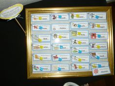 """Character name tages with mounting tape. Diaper pin for """"Don't Say Baby"""" game."""