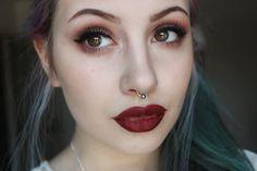 vampy makeup tutorial   winged eyeliner   dark lips