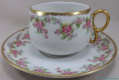 PA52 Limoges Elite Works Bridal Rose Tea Cup and Saucer | eBay   (I have a set of four cups and saucers with matching BB plates)
