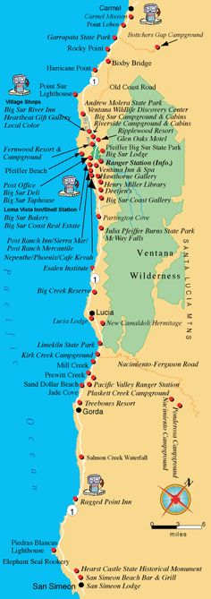 this is a great map for wedding guests to understand where points of interest/lodging and restaurant are located in Big Sur Call #CoastsideCouture for Big Sur Weddings