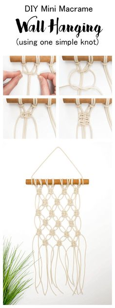 This mini macrame wall hanging tutorial shows you how to create this pretty diamond shape using just one simple macrame knot. You'll be able to create this wall hanging in just under an hour.
