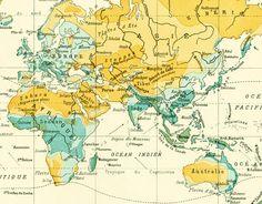1897 Pluies Répartition Annuelle Carte Ancienne Planche Originale Nouveau Larousse illustré Grand Format Illustration 115 ans d'âge