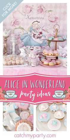 Take a look at this magical Alice in Wonderland baptism! The cupcakes are so pretty! See more party ideas and share yours at CatchMyParty.com #catchmyparty #partyideas #aliceinwonderland #aliceinwonderlandparty #baptism #teaparty