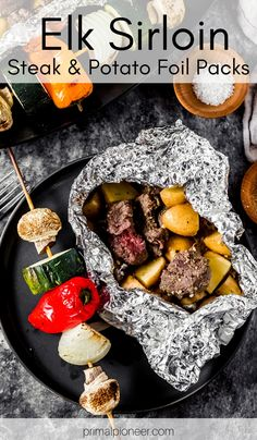 Grab some elk sirloin steaks and grill up these easy elk sirloin steak and potato foil packs! This is a super easy wild game summer grilling recipe. Perfect for grilling at home or camping and cooking over the fire! Elk Meat Recipes, Wild Game Recipes, Venison Recipes, Elk Steak, Venison Steak, Sirloin Steaks, Cooking Foil, Grilled Shrimp Recipes, Summer Grilling Recipes