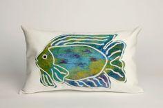 """Batik Fish Aqua 12"""" x 20"""" Indoor Outdoor Pillow"""