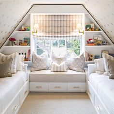 Another attic space that is anything but bland...love this playful bedroom designed by @lifestyle_la. The star wallpaper on the ceiling is our favorite detail...what's yours?