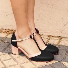 T-Strap Bowknot Sommer Casual Chunky Heel Buckle Damen Sandalen Leinenlooks Ankle Strap Heels, Ankle Strap Sandals, Pumps Heels, High Heels, Red Heels, Heeled Sandals, Strappy Sandals, Black Sandals, Wedge Sandals
