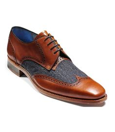 Tweed and leather shoe.