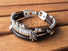 multi strap brown leather bracelet with silver plated by kekugi