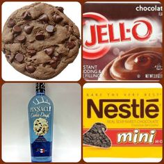 In honor of National Chocolate Chip Cookie Day Chocolate Chocolate Chip Cooke Pudding Shots 1 small Pkg. Pudding Shot Recipes, Jello Pudding Shots, Jello Recipes, Chocolate Pudding Desserts, Chocolate Fudge Frosting, Mini Chocolate Chips, Chocolate Chocolate, Mixed Drinks Alcohol, Drinks Alcohol Recipes