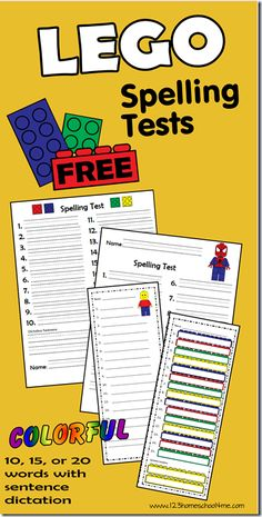 Free LEGO Spelling Tests - Kids are going to love making spelling tests more fun with these cute Lego inspired tests for 10, 15, or 20 words. These are great for parents, teachers, and homeschoolers for 1st-6th grade.