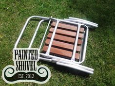 Vintage wood & aluminum folding lawn chair for sale at Painted Shovel in Avondale, AL.