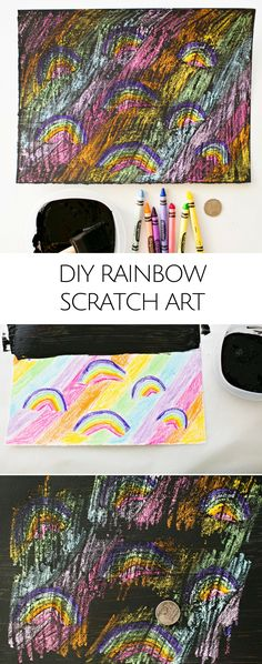 DIY Rainbow Scratch Art for Kids. Find the hidden rainbows and scratch them off! Colorful art project for kids.
