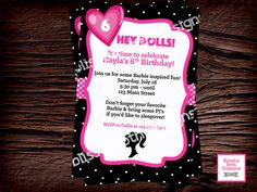 BARBIE BIRTHDAY INVITATION  Barbie Birthday Invitation, Printable Barbie Invitation, Personalized Barbie Invitation, Doll Birthday by BlissfulBethDesigns on Etsy