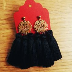 #orientaljewellery #orientalearrings #goldearrings #with #three #black #tassels #silverjewellery