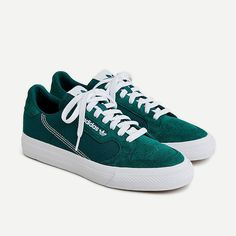 J.Crew - Adidas® Continental Vulc sneakers Indoor Tennis, Shoe Releases, Best Diamond, Adidas, Two Brothers, Classic Looks, Shades Of Green, French Terry, Sneakers